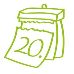 Handgezeichneter Kalender - Tag 20 in hellgrün