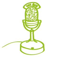 Handgezeichnetes Mikrophon in hellgrün