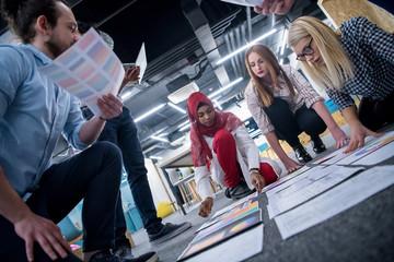 black muslim woman having meeting with Multiethnic  startup business team