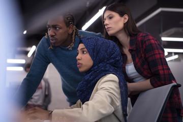 multiethnics team of software developers working together