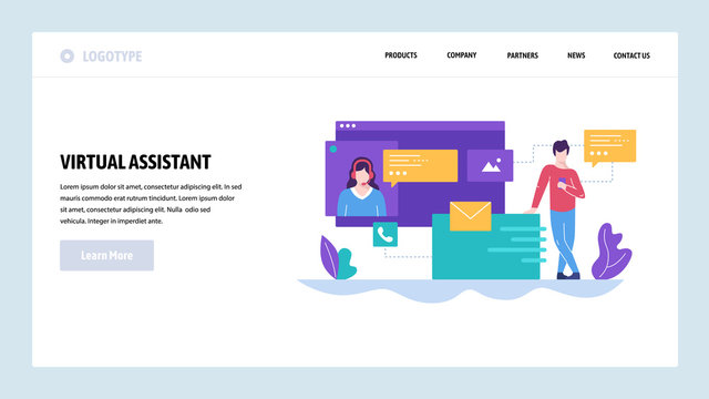 Vector web site design template. Online customer support, personal AI virtual assistant, internet IVR chat bot. Landing page concepts for website and mobile development. Modern flat illustration.
