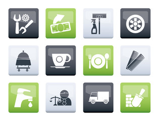 Services and business icons over color background - vector icon set