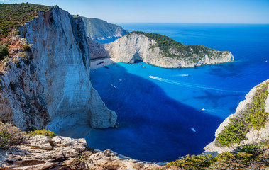 Navagio bay and Ship Wreck beach in summer. The famous natural landmark of Zakynthos, Greek island in the Ionian Sea