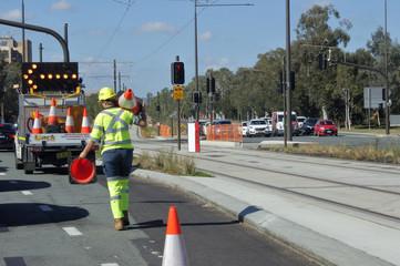 Australian woman road worker