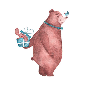 Watercolor cute bear congratulating with happy birthday with gift of dog