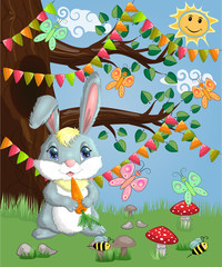 Bunny with a carrot in a forest glade. Spring, postcard