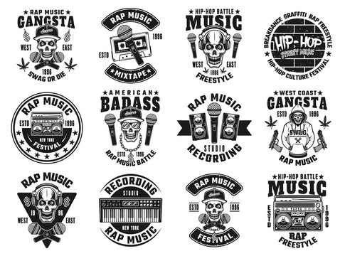 Rap and hip-hop set of twelve vector black emblems