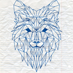 Vector. Polygonal geometric wolf head. Abstract linear isolated wolf