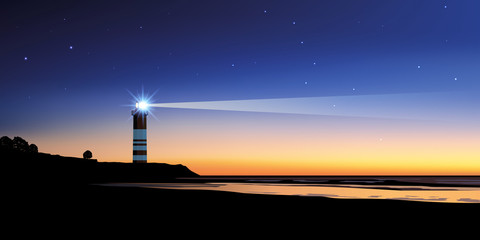 Paysage phare - ciel nuit