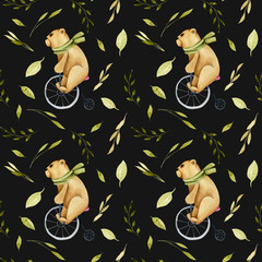 Seamless pattern of watercolor cute bears on a bicycle and green plant elements, hand drawn on a dark background