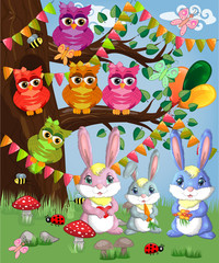 A family of three bunnies in a forest glade. Mom, dad, baby. Spring, postcard