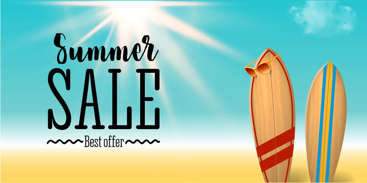 Summer sale design with surf board native graffiti on the blue ocean background with sea life and realistic sun flare. Big sale poster.