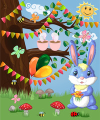 Blue bunny with a bouquet on a forest glade. Spring,