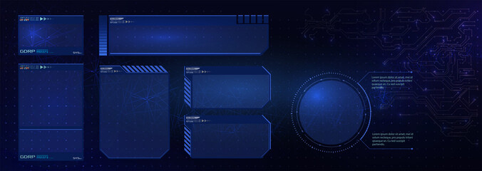 HUD futuristic user interface screen elements set. High tech screen for video game. Sci-fi concept design. Vector illustration