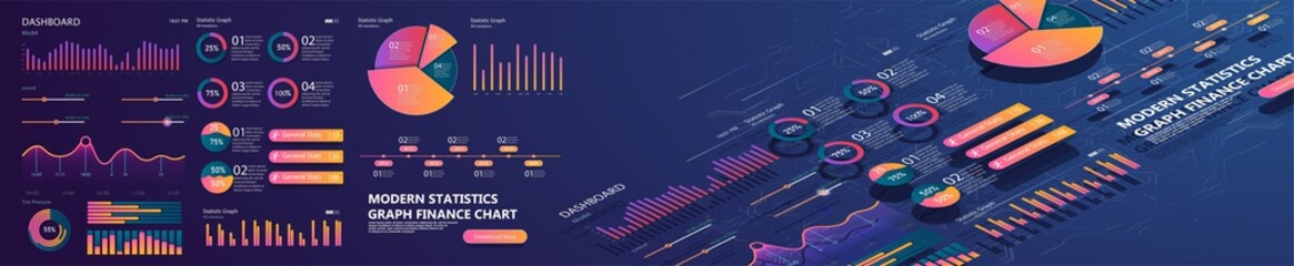 Set of colorful infographic vector elements: presentation graphics, statistics of data and diagrams. 3d isometric design. Infographics