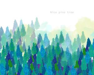 Hand drawn nice jungle and pine trees
