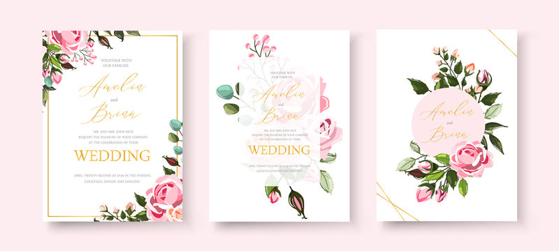 Wedding floral golden invitation card save the date design with pink flowers