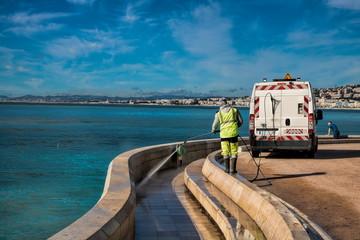 Promenade des Anglais Reinigung, Nizza
