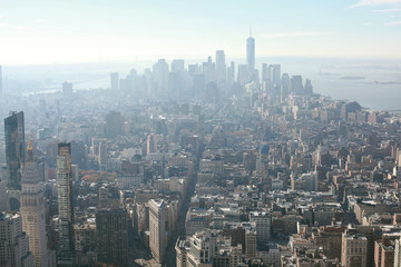 new york city skyline aerial view in a foggy day