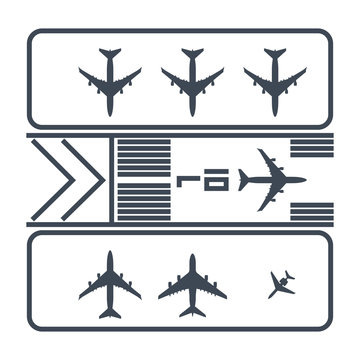 thin line icon airport runway, airplane parking