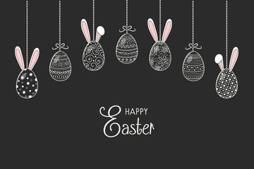 Easter banner with hand drawn eggs and bunnies. Vector