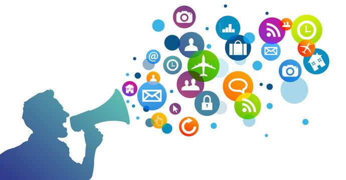 megafono, manifestazione, comunicazione, icone