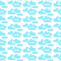 Blue and white hand drawn contour clouds hand drawn seamless pattern