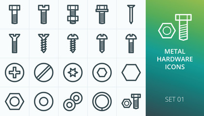 Metal construction hardware linear icons set. Set of screw, bolt, washer, metalware, nut, diy, hexahedron, metal nail vector icons