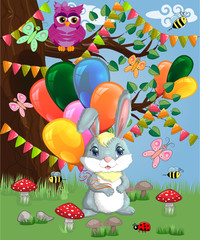 Cute cartoon bunny with an armful of balls in a forest glade. love, postcard