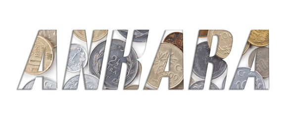 ANKARA - with stack of old Turkish coins on white background