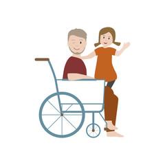 Opa im Rollstuhl mit Enkelin