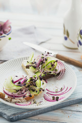 Healthy vegetarian bruschettas with bread, micro greens, cheese, cucumbers and red onion on light rustic wooden table. Healthy lifestyle and eating right concept