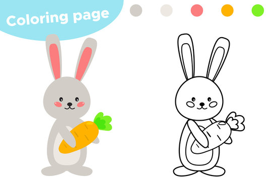 Spring coloring page, cute cartoon Easter rabbit with carrot. Educational game for preschool kids. Vector illustration.