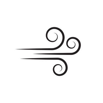 Wind blowing vector icon isolated on white background. Simple flat wind pictogram. Cold weather symbol black illustration. - Vector