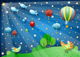 Surreal night with hot air balloons, spotlights, birds and flying fishes