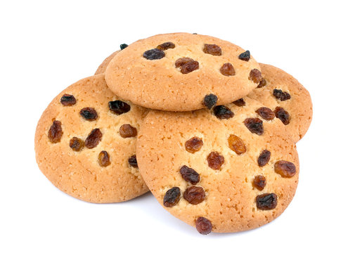 Cookies with raisin on white background