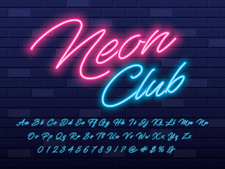 Glowing neon light alphabet design