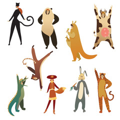Flat vector set of young people in animal costumes. Cartoon men and women in clothing for carnival