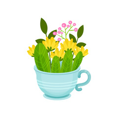 Fresh spring flowers and leaves in blue cup. Beautiful floral composition. Nature and botany theme. Flat vector design