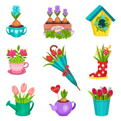 Flat vector set of floral compositions. Beautiful spring flowers planted in pot, wooden box, watering cup, teapot