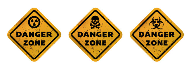 Danger zone signs, radiation, toxicity and mortal danger Vector illustration.