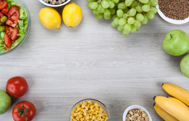 background diet plan with fresh vegetables and fruits on the table