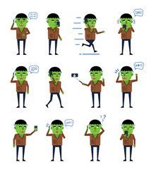 Set of halloween zombie characters posing with phone in various situations. Funny monster talking on phone, running, taking photo and showing other actions. Flat design vector illustration
