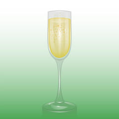 The champagne glass, Mock up, template of glassware for alcoholic drinks, champagne flute, Realistic vector illustration