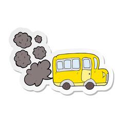sticker of a cartoon yellow school bus