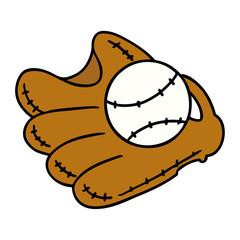 cartoon doodle of a baseball and glove