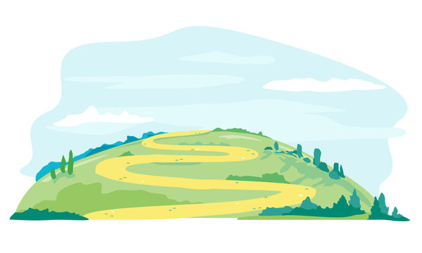 Winding way on the green hill in summer day, green lawn with sandy path nature landscape, tourist routes, travel illustration isolated