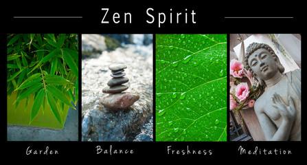 closeup of Zen spirit  - collage with text : Garden, Balance, Freshness and Meditation
