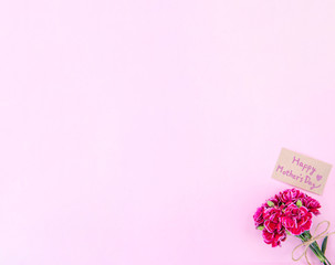 May mothers day idea concept photography - Beautiful blooming carnations tied by bow with kraft text card isolated on bright modern table, copy space, flat lay, top view