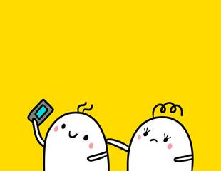Cute marshmallow couple and smartphone hand drawn illustration cartoon minimalism